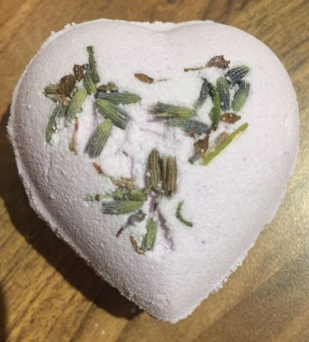 Relaxing Lavender Heart with Sweet Almond Oil & Dried Lavender Seeds