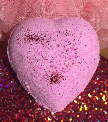 Pink Glitter Bath Heart with Sweet Almond Oil