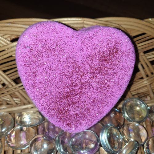 Pink Sparkle Heart Bath Bomb
