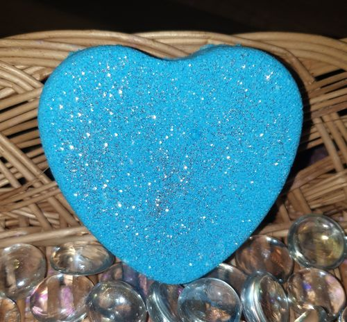 Blue Sparkle Heart Bath Bomb